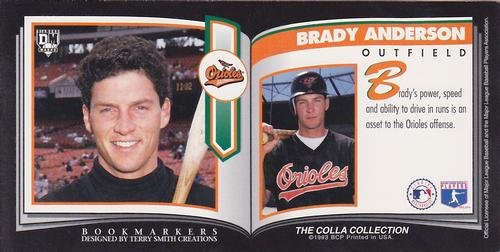 1993 Diamond Marks Bookmarkers #NNO Brady Anderson Back