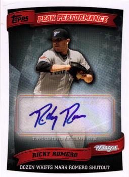 2010 Topps Update - Peak Performance Autographs #PPA-RR Ricky Romero Front