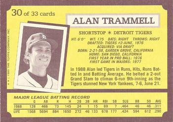 1989 Topps Kay-Bee Superstars of Baseball #30 Alan Trammell Back