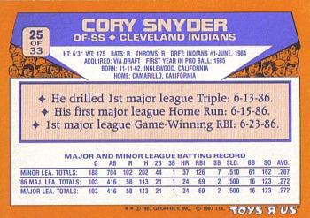 1987 Topps Toys 'R' Us Rookies #25 Cory Snyder Back
