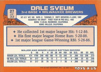 1987 Topps Toys 'R' Us Rookies #27 Dale Sveum Back