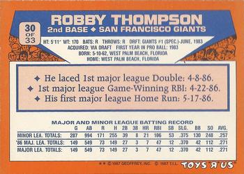 1987 Topps Toys 'R' Us Rookies #30 Robby Thompson Back