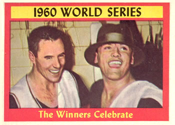 1961 Topps #313 1960 World Series Summary The Winners Celebrate Front