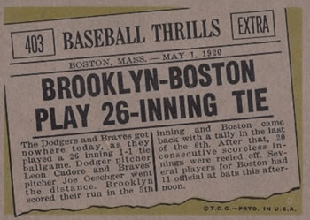 1961 Topps #403 Brooklyn-Boston Play 26 Inning Tie Back