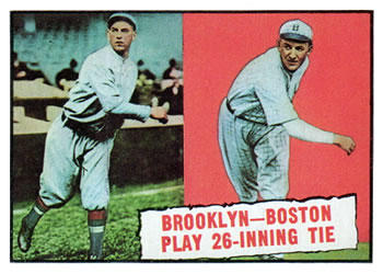 1961 Topps #403 Brooklyn-Boston Play 26 Inning Tie Front