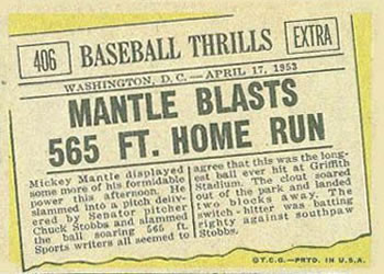 1961 Topps #406 Mantle Blasts 565 ft. Home Run Back