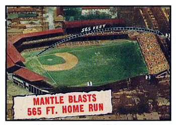 1961 Topps #406 Mantle Blasts 565 ft. Home Run Front