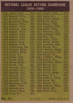 1961 Topps #41 National League 1960 Batting Leaders Back
