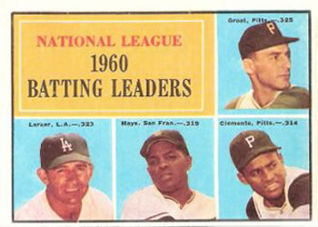 1961 Topps #41 National League 1960 Batting Leaders Front
