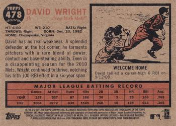2011 Topps Heritage #478 David Wright Back