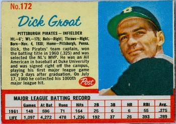 1962 Post Cereal #172 Dick Groat Front