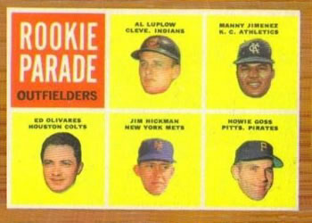 1962 Topps #598 Rookie Parade Outfielders Front
