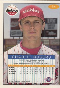 1993-94 Fleer Excel  86 Charlie Rogers Back 73067d32f