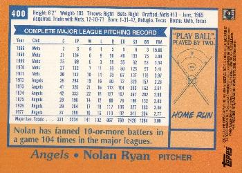 2010 Topps - Cards Your Mom Threw Out Original Back #400 Nolan Ryan Back