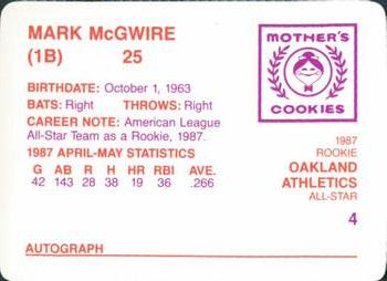 1987 Mother's Cookies Mark McGwire #4 Mark McGwire Back