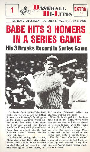1960 Nu-Card Hi-Lites #1 Babe Hits 3 Homers In A Series Game Front