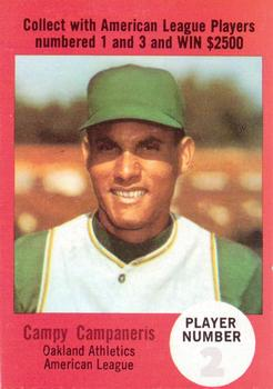 1968 Atlantic Oil Play Ball Contest Cards #NNO Bert Campaneris Front