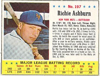 1963 Jell-O #197 Richie Ashburn Front
