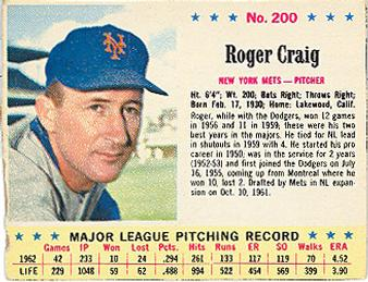 1963 Jell-O #200 Roger Craig Front