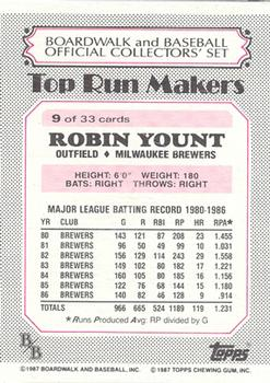 1987 Topps Boardwalk and Baseball #9 Robin Yount Back