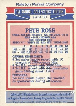1984 Topps Ralston Purina #4 Pete Rose Back