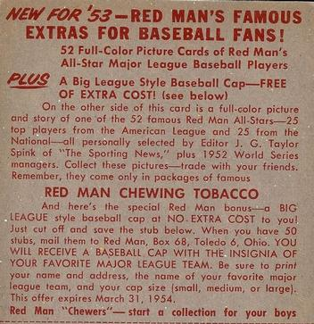 1953 Red Man #AL8 George Kell Back