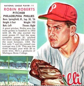 1953 Red Man #NL11 Robin Roberts Front
