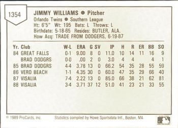 1989 ProCards #1354 Jimmy Williams Back