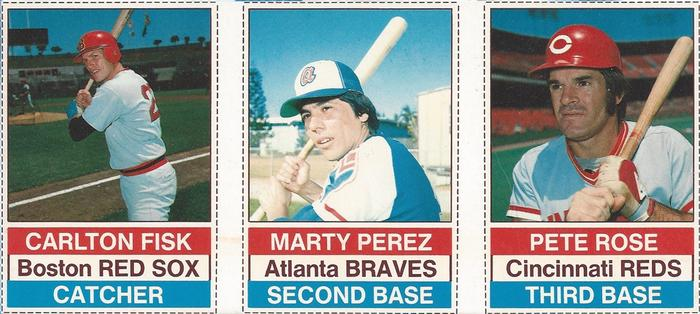 1976 Hostess - Panels #64-66 Carlton Fisk / Marty Perez / Pete Rose Front