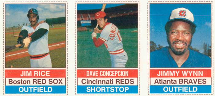 1976 Hostess Panels #127-129 Jim Rice / Dave Concepcion / Jim Wynn Front