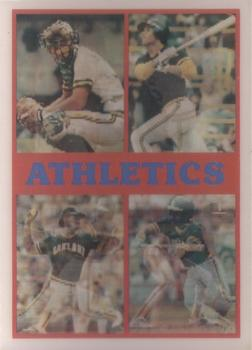 1987 Sportflics Team Preview #23 Jose Canseco / Alfredo Griffin / Reggie Jackson / Carney Lansford / Mark McGwire / Dwayne Murphy / Rob Nelson / Tony Phillips / Jose Rijo / Terry Steinbach / Mike Davis / Curt Young Front