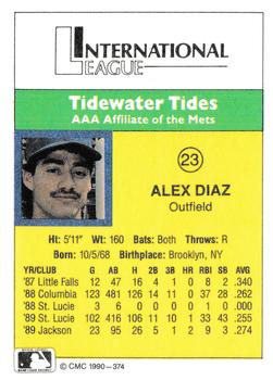 1990 CMC #374 Alex Diaz Back