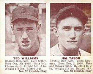 1941 Double Play #57 Ted Williams / Jim Tabor Front