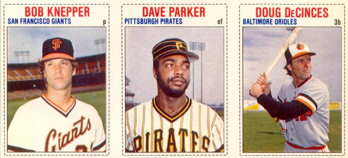 1979 Hostess - Panels #18 Bob Knepper / Dave Parker / Doug DeCinces Front