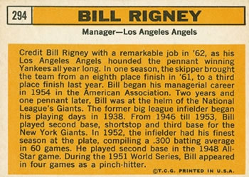 1963 Topps #294 Bill Rigney Back