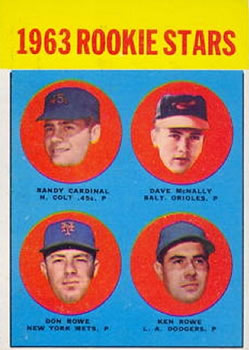 1963 Topps #562 Randy Cardinal / Dave McNally / Don Rowe / Ken Rowe Front