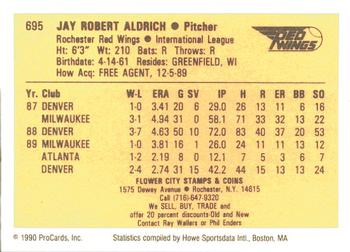 1990 ProCards #695 Jay Aldrich Back