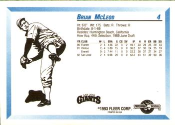 1993 Fleer/ProCards #4 Brian McLeod Back