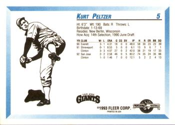 1993 Fleer/ProCards #5 Kurt Peltzer Back