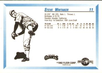 1993 Fleer/ProCards #11 Steve Whitaker Back