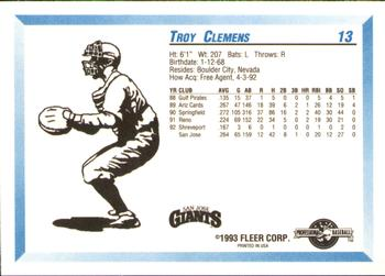 1993 Fleer/ProCards #13 Troy Clemens Back