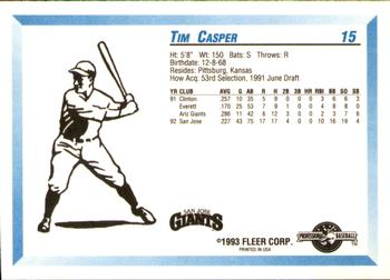 1993 Fleer/ProCards #15 Tim Casper Back