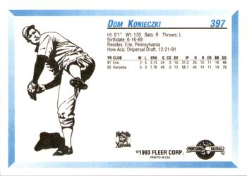 1993 Fleer/ProCards #397 Dom Konieczki Back