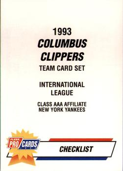 1993 Fleer/ProCards #1128 Checklist Front