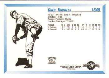 1993 Fleer ProCards #1846 Greg Knowles Back