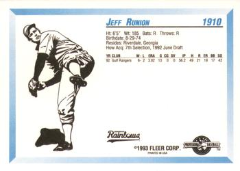 1993 Fleer ProCards #1910 Jeff Runion Back