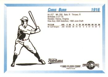 1993 Fleer ProCards #1916 Chris Burr Back