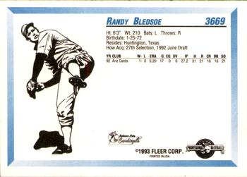 1993 Fleer/ProCards #3669 Randy Bledsoe Back