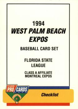 1994 Fleer/ProCards #60 West Palm Beach Expos Checklist Front