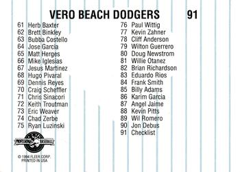 1994 Fleer/ProCards #91 Vero Beach Dodgers Checklist Back